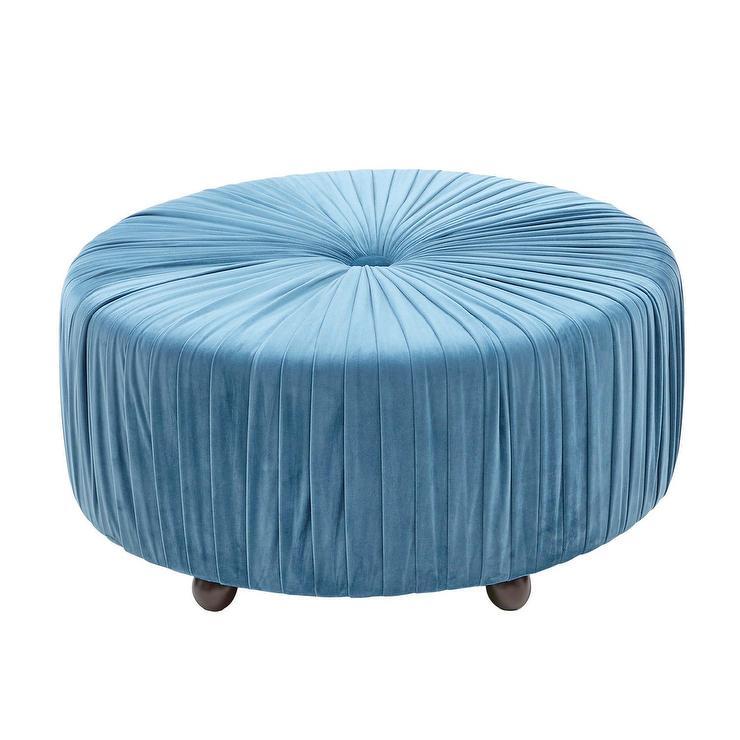 Admirable Oliver Velvet Round Cushioned Teal Ottoman Inzonedesignstudio Interior Chair Design Inzonedesignstudiocom