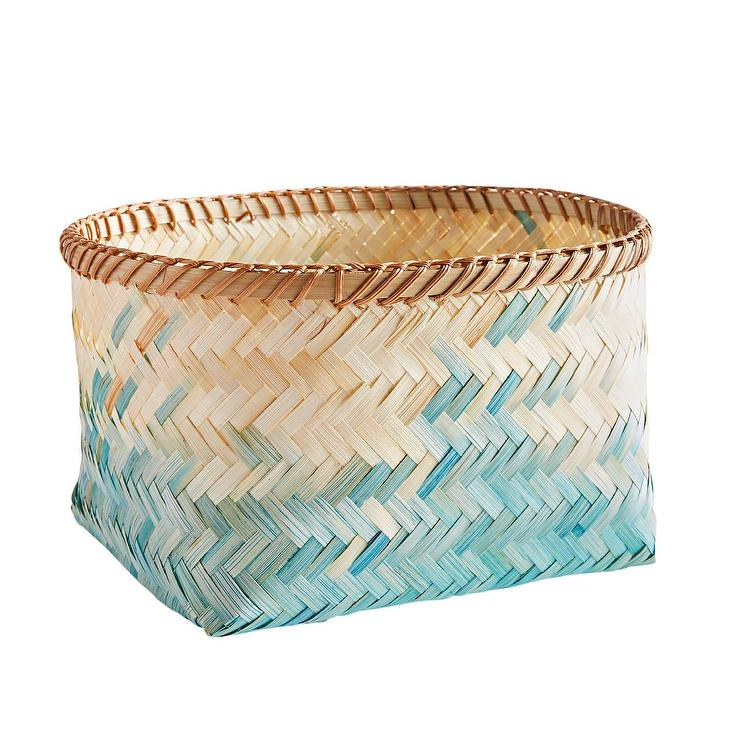 Round Blue Ombre Woven Bamboo Basket
