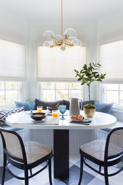 Bay Window With Beadboard Dining Banquette Transitional Dining Room