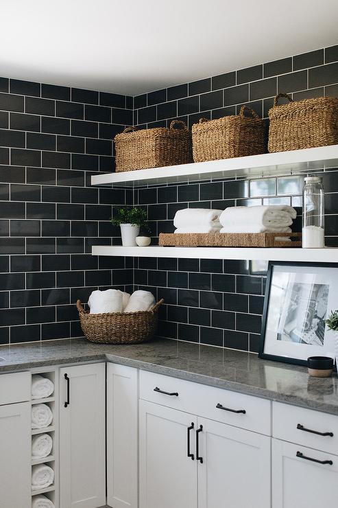 White Grout On Black Subway Laundry Room Backsplash Tiles Transitional Laundry Room