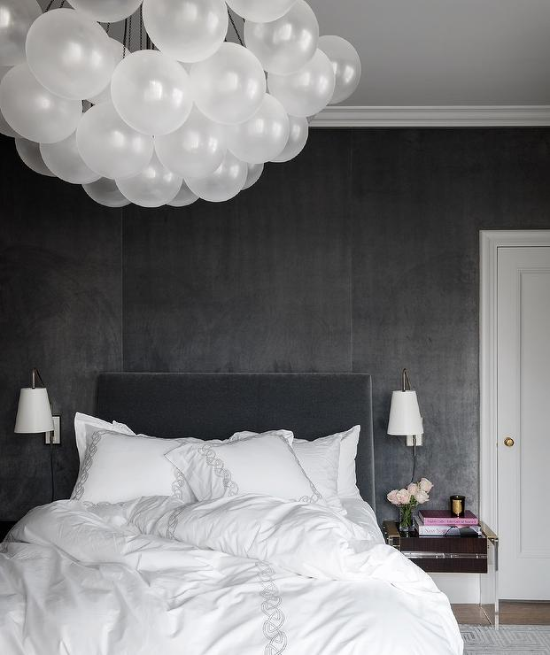 Black Velvet Headboard on Black Velvet Wallpaper - Contemporary ...