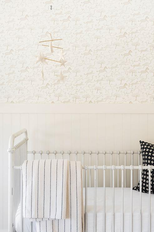 White And Gray Faded Nursery Rug On Carpet Transitional Nursery