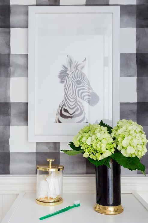Black And White Powder Room With Summer Lily Wallpaper