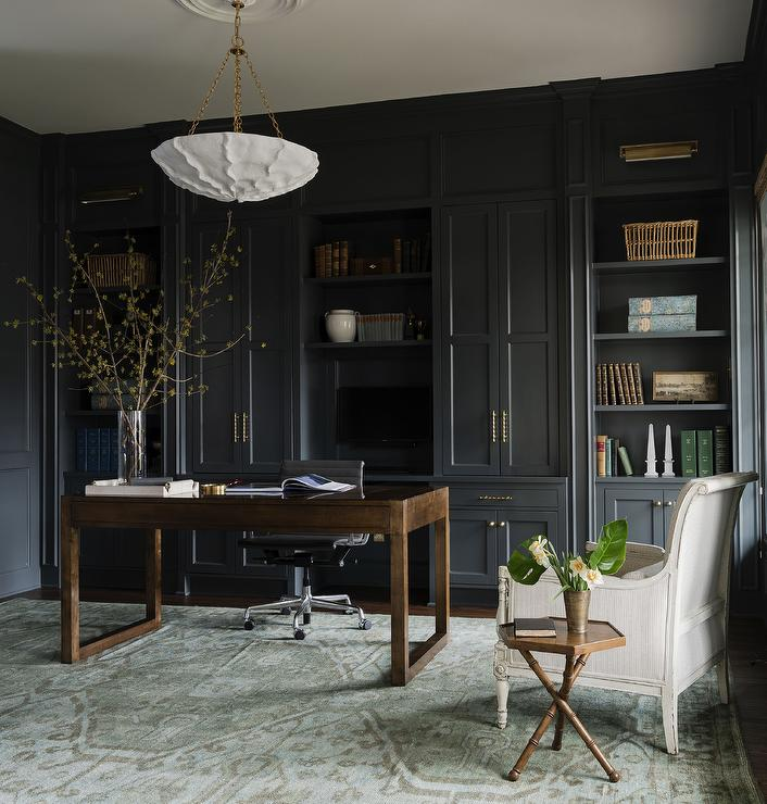 Strange Den With Black Built In Cabinets Transitional Den Ncnpc Chair Design For Home Ncnpcorg