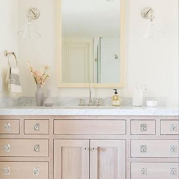 Brushed Oak Bath Vanity With Polished Brass Legs
