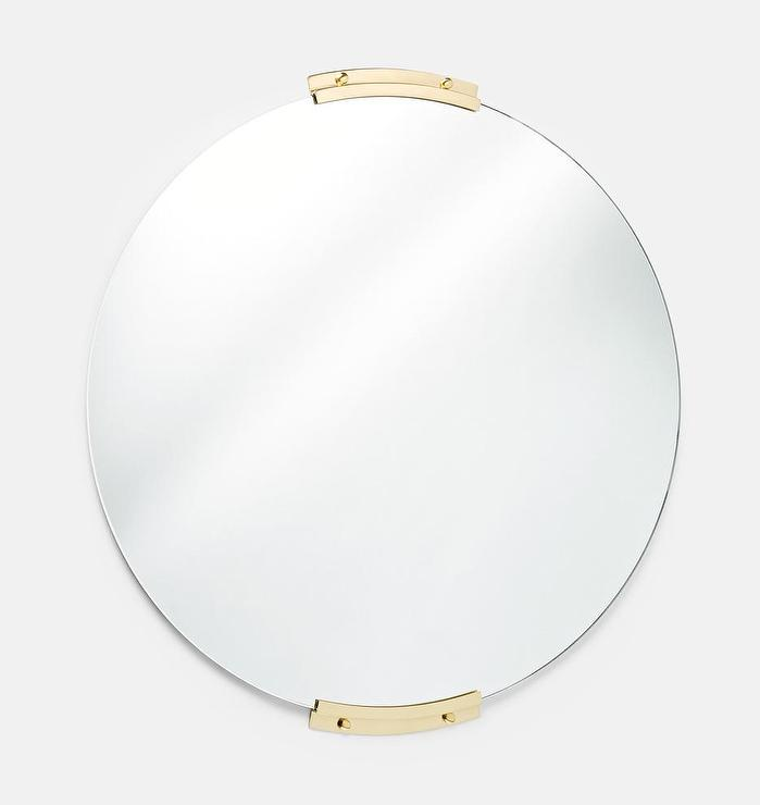 Yaquina Round Brass Brackets Frameless Mirror