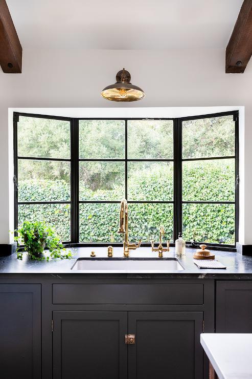 Kitchen Sink In Bay Window Transitional Kitchen