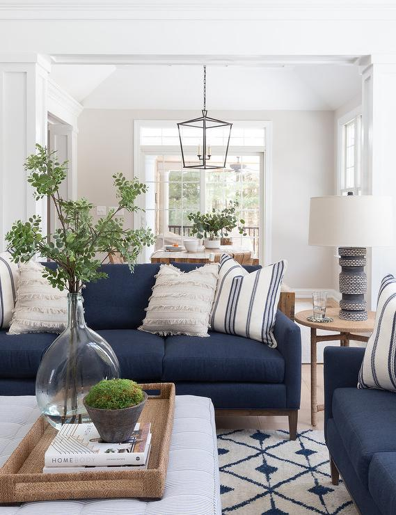 Blue Sofa On White And Blue Wool Rug Transitional Living Room