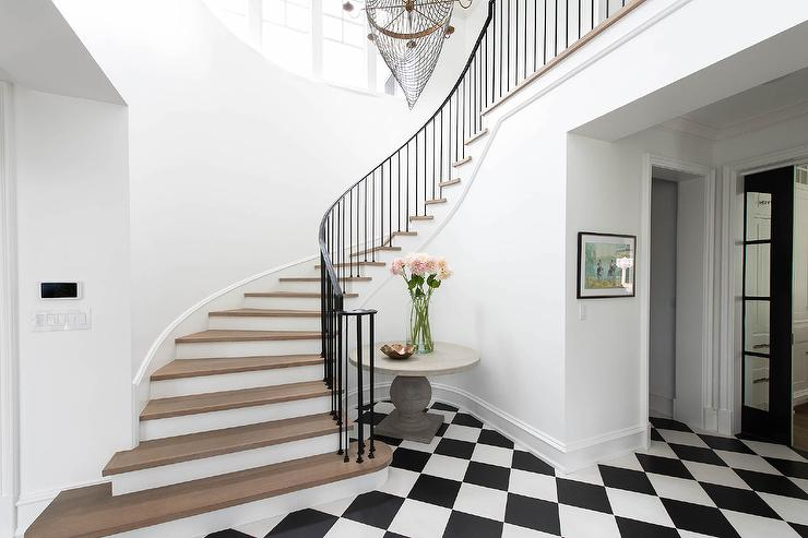 wrought iron handrails for stairs modern style home.htm winding staircase with oak treads transitional entrance foyer  winding staircase with oak treads