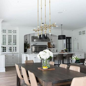 Dark Dining Table With Light Chairs, Dark Wood Dining Room Table With White Chairs