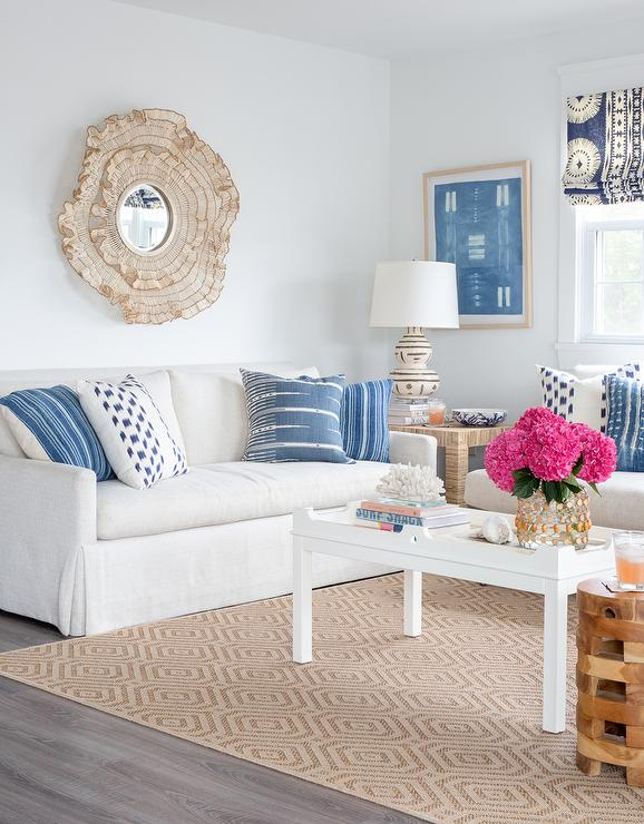 White Sofa with White Coffee Table - Transitional - Living Room