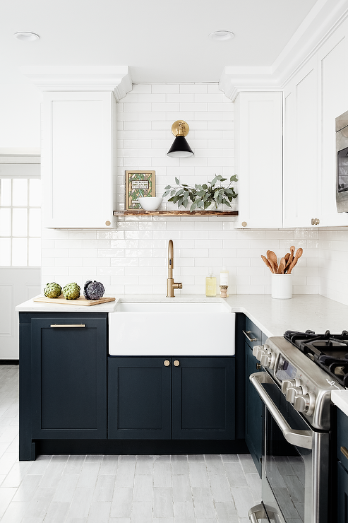 Dark Blue Shaker Cabinets With White Apron Sink