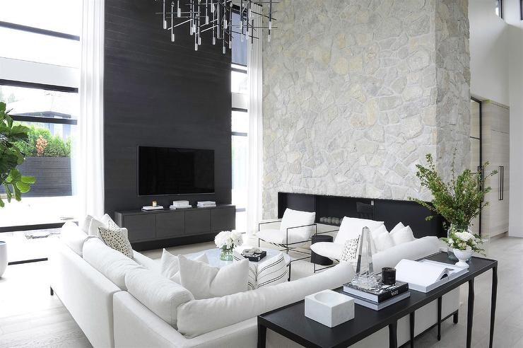 Modern Black and White Living Room with White Sectional ...