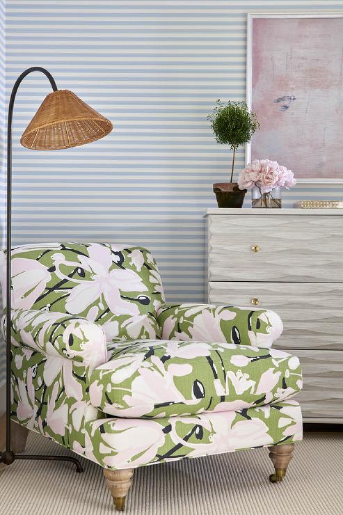 Green Floral Print Accent Chair With Wicker Floor Lamp Transitional Bedroom