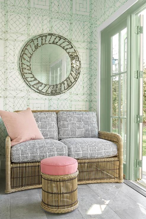 Wicker Sofa on Mint Green Bamboo Trellis Wallpaper - Transitional