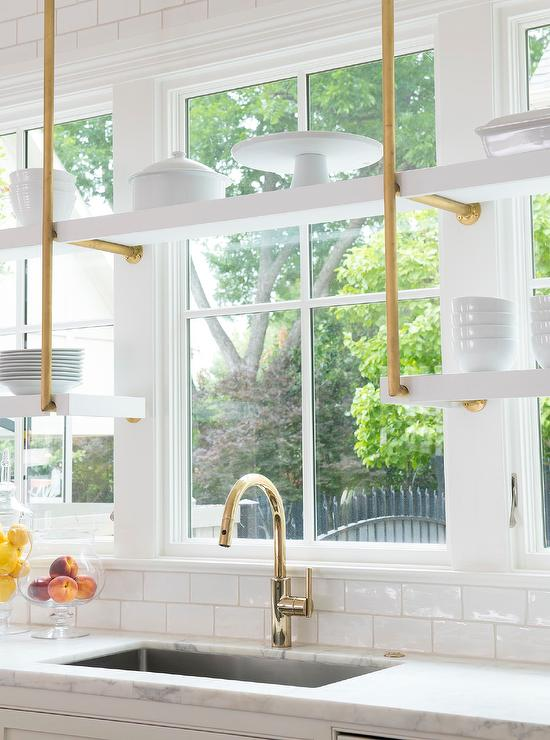 White and Gold Hanging Kitchen Shelves - Transitional - Kitchen