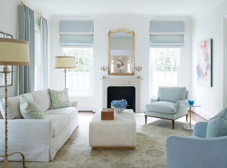 Sensational White Sofa With Blue Accent Chairs Transitional Living Room Creativecarmelina Interior Chair Design Creativecarmelinacom