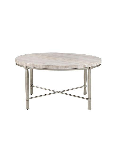 Marble And Silver Coffee Table.Reese Round Marble Silver Coffee Table