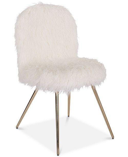 Fabulous Ildan Rounded White Faux Fur Brass Accent Chair Machost Co Dining Chair Design Ideas Machostcouk