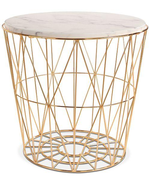 Renee Marble Brass Wire Basket End Table