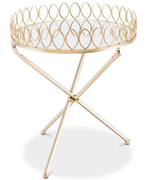 Venetia Round Brass Mirrored Tray Table