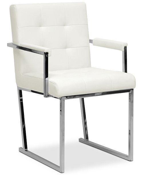 Pantages White Leather Wing Chair
