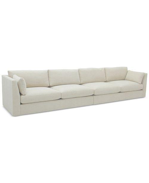 Kala White Fabric 2 Piece Sectional Sofa