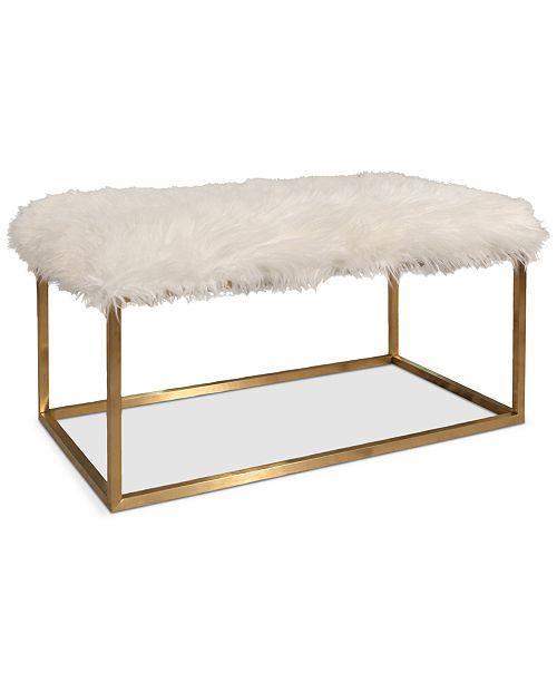 Prime Jameson White Faux Fur Brass Ottoman Uwap Interior Chair Design Uwaporg