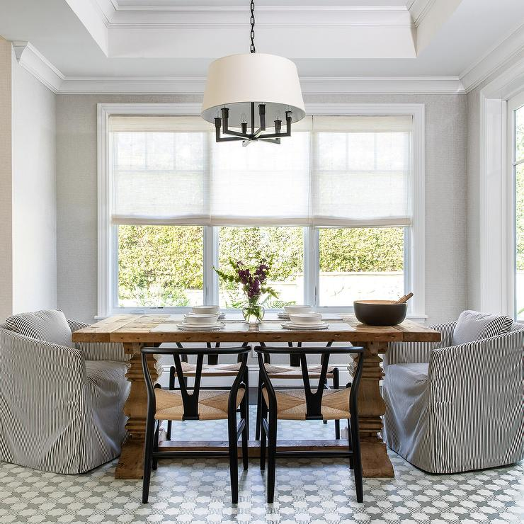 Trestle Dining Table with Black Stripe Dining Chairs ...