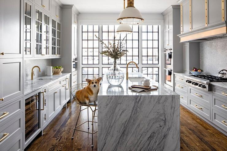 Gray And Gold Kitchen Design Transitional
