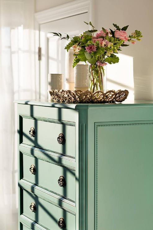 Green Tall Boy Dresser with Vintage Hardware - Transitional ...
