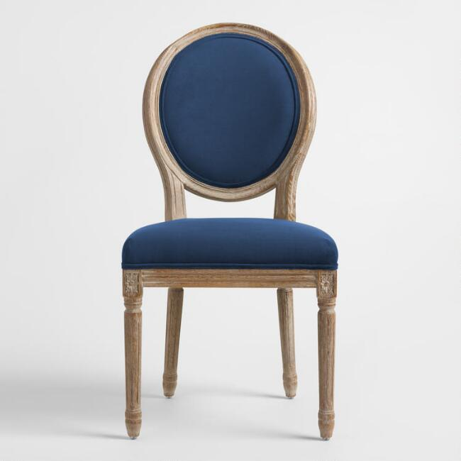 Pleasing Paige Round Back Ink Blue Velvet Dining Chair Machost Co Dining Chair Design Ideas Machostcouk