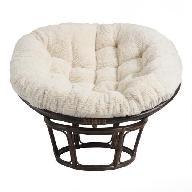 Cool Papasan Oatmeal Faux Fur Chair Cushion Cjindustries Chair Design For Home Cjindustriesco