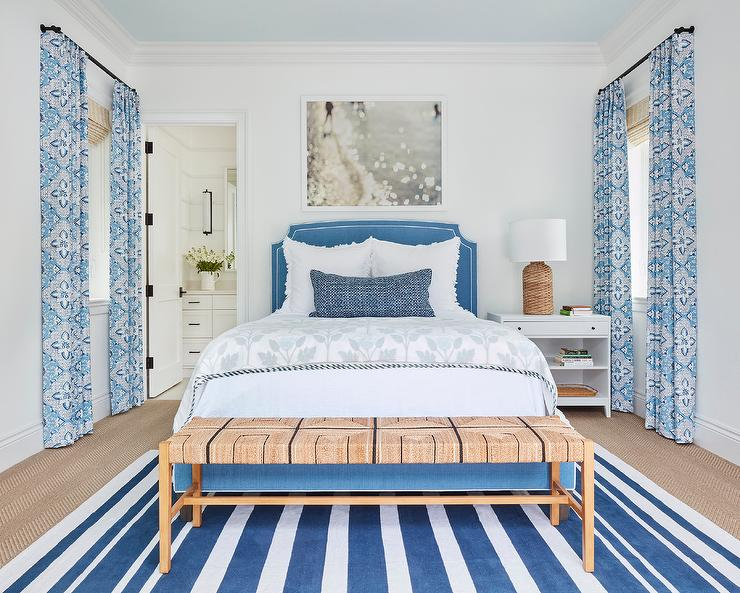 Swell Blue Upholstered Bed With Rush Seat Bench Cottage Bedroom Ocoug Best Dining Table And Chair Ideas Images Ocougorg