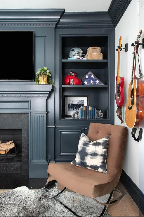 Black Dentil Fireplace Mantel With Tv Contemporary Living Room
