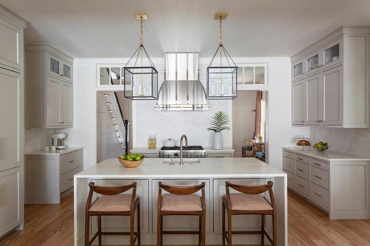 Remarkable Mid Century Modern Stools At Light Taupe Kitchen Island Machost Co Dining Chair Design Ideas Machostcouk
