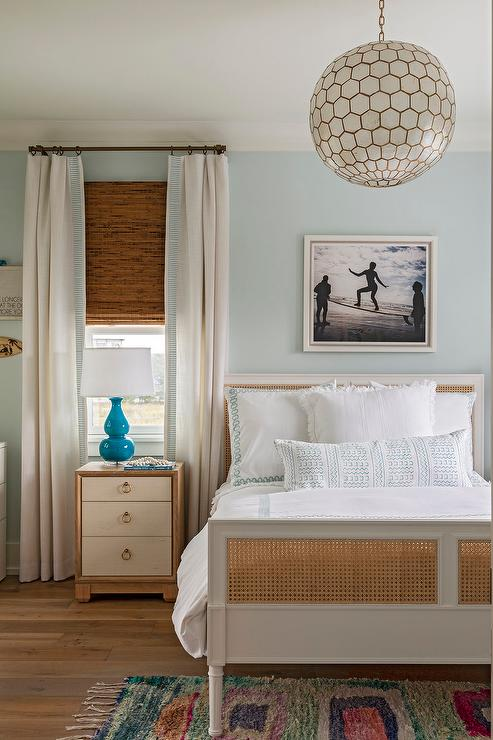 Blue Curtains Transitional Bedroom At Home In Arkansas
