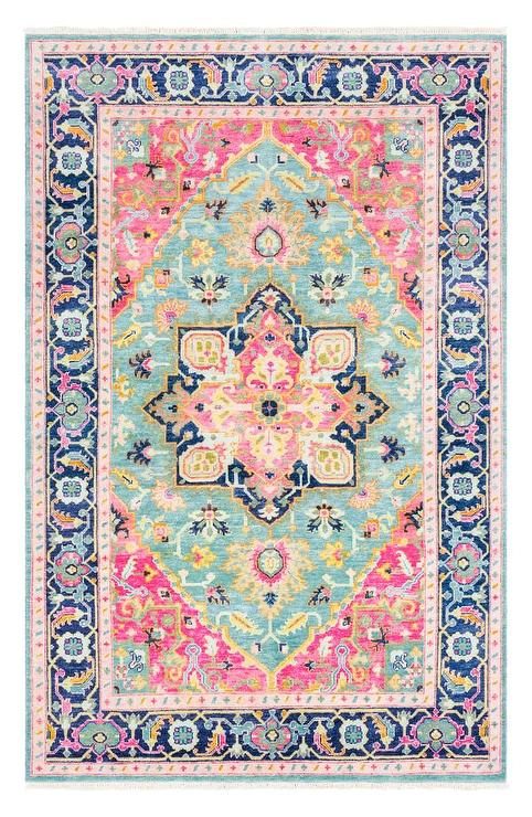 Surya Antique Pink Blue Hand Knotted Area Rug