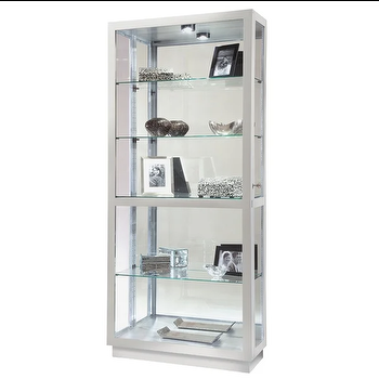 Howard Miller Jayden Ii Coastal Silver, Tall Curio Cabinet