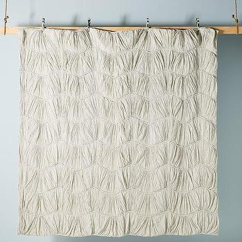Dark Gray Washed Linen Laced Quilt