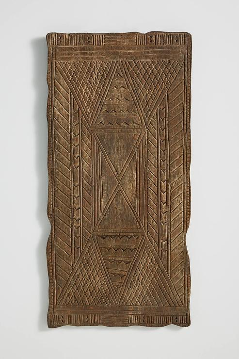 Ablia Geometric Brown Carved Wood Wall Hanging