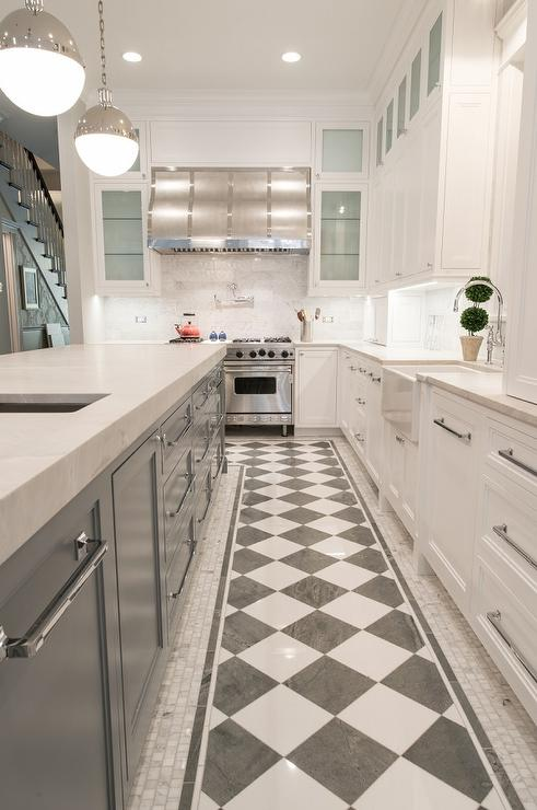 floor decor flooring checkered.htm white kitchen with long gray island contemporary kitchen  white kitchen with long gray island