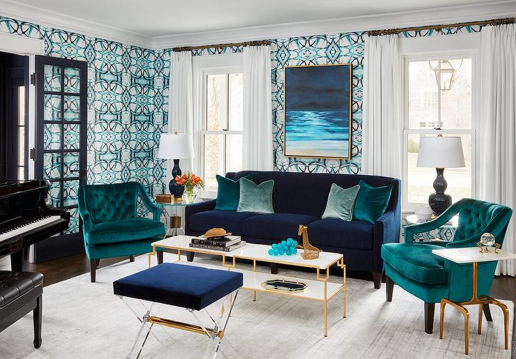 Blue Velvet Sofa With Teal Velvet Accent Chairs Contemporary Living Room