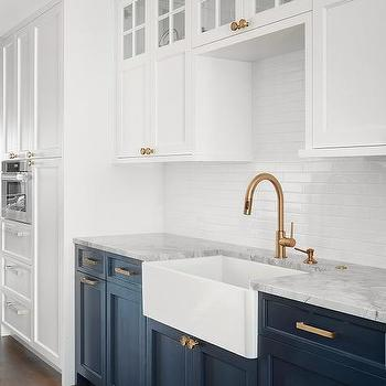 White Upper Cabinets Gray Lower Cabinets Design Ideas