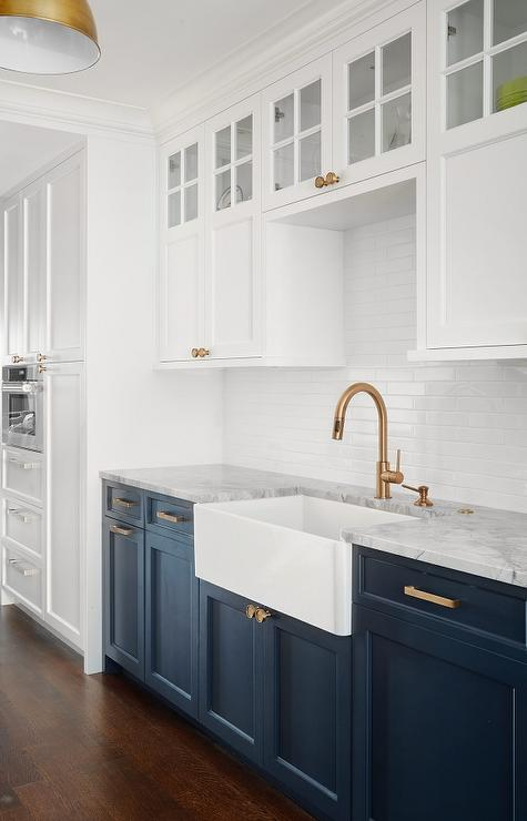 White Upper Cabinets With Blue Lower Cabinets Transitional Kitchen