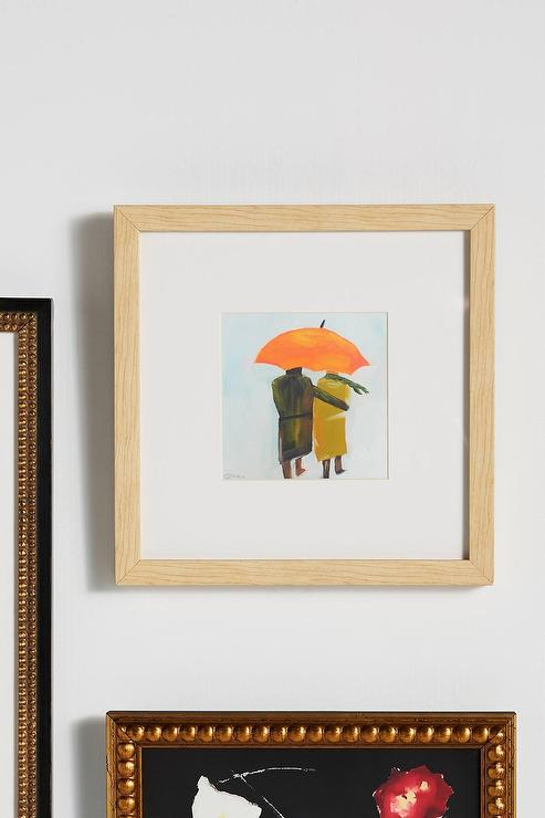 Umbrella Couple Wood Frame Wall Art