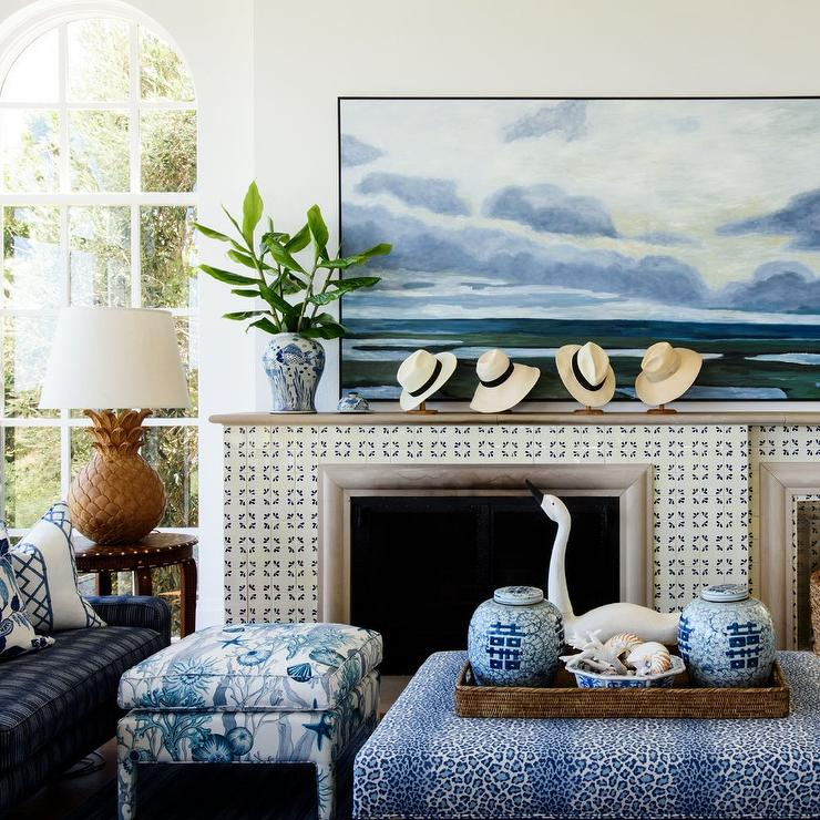 Blue Animal Print Ottoman With Woven Tray Cottage Living Room