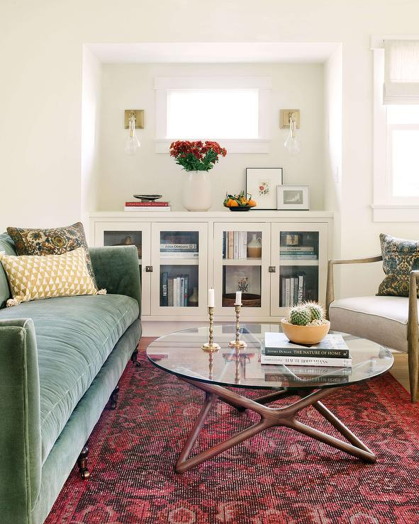 Green Sofa with Wood and Glass Coffee Table - Transitional ...