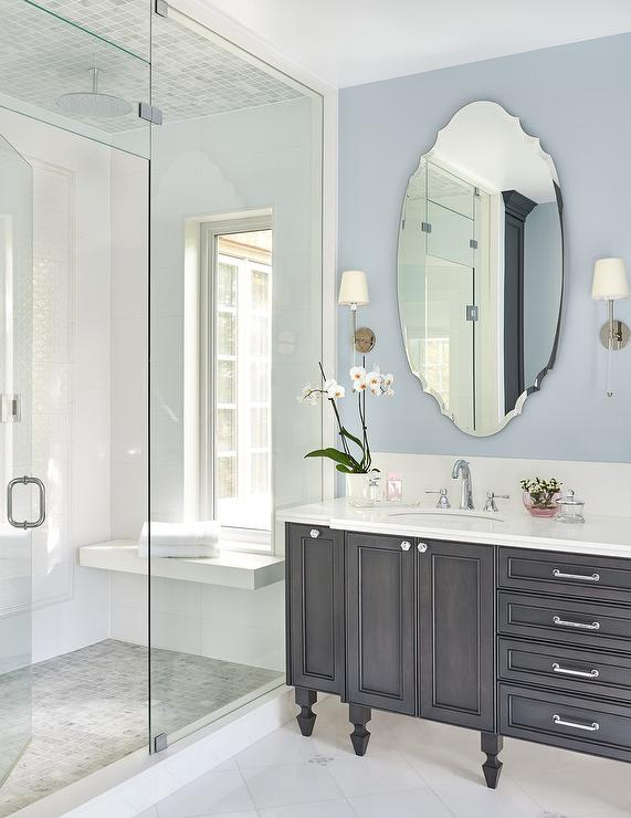Espresso Stained Washstand With Oval, Large Oval Mirror Bathroom