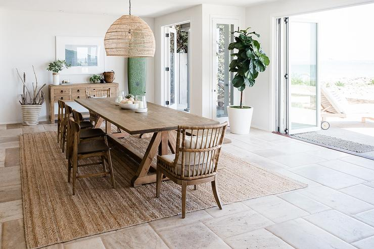 Cool Long Oak Trestle Dining Table On Seagrass Rug Cottage Theyellowbook Wood Chair Design Ideas Theyellowbookinfo